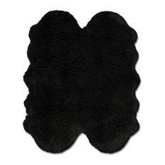 eCarpetGallery Faux Sheepskin Rug, Black, 4'x6' Animal