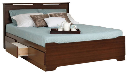Prepac Coal Harbor Queen Platform Storage Bed With Headboard In Espresso More Info
