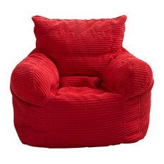 Small Corduroy Arm Chair Bean Bag, Red