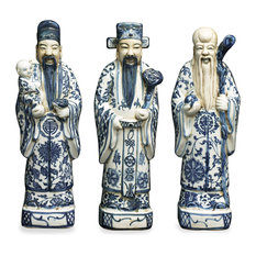 Blue and White Porcelain Three Lucky Gods