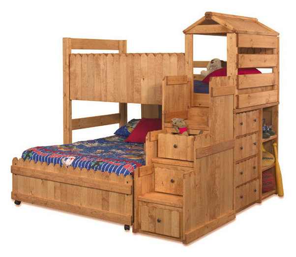 Camp Wildwood Twin Over Full Fort Loft Transitional