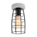 Industrial Ceiling Lamp Concrete Grey with Black Wire Frame - Rohan