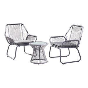 Hailey Outdoor 3 Piece Faux Rattan Chat Set