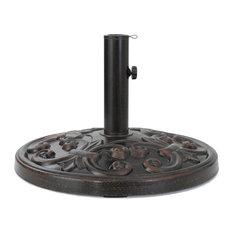 GDF Studio Gretta Outdoor Bronze Resin and Black Steel Unbrella Base