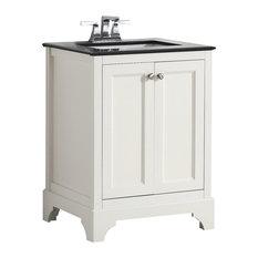 """Cambridge Bath Vanity With Black Granite Top, Soft White, 24"""""""