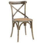 Lexmod - Gear Dining Wood Side Chair, Gray - Evoke rustic remembrances as you sip a leisurely tea or hearty breakfast. With an open wooden backrest and tapered legs, the chair provides that country charm without compromising on modernity. The chair comes fully assembled and is a pleasant addition to country cottages, rustic environs, or any urban dweller in search of a respite.