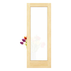 """Frameport - 1-Lite Frosted Privacy Glass French Door Unfinished, 24""""x80""""x1.375"""" - Interior Doors"""
