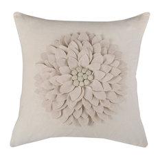 "18""x18""Cream Decorative Pillow With Applique of Felt Leaves"