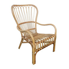 Retro Vintage Style Wide Back Rattan Arm Chair, Wicker Scoop Woven