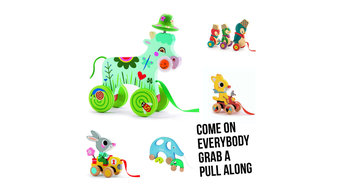 Pull Alongs - decorate books shelves with playful items