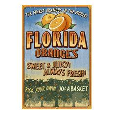 """Florida, Orange Grove Vintage Sign"" Print, 12""x18"""