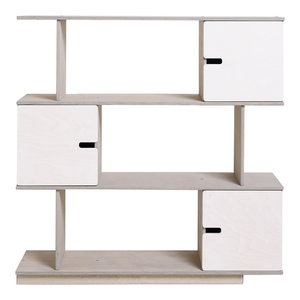 PIX Modular Shelving Unit, Pebble Grey and White, 3 Cupboards