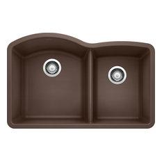 """Blanco 440177 20.8""""x32"""" Granite Double Undermount Kitchen Sink, Cafe Brown"""