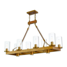 11-Light Linear Chandelier, Aged Gold