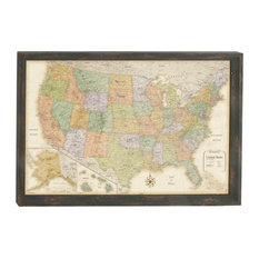 """Wooden Wall Map, 50""""x34"""""""