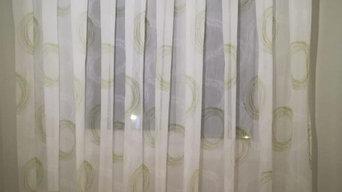 Cortina elaborada con el tejido Rosaleen de ViaRoma 60 por Fashion Home
