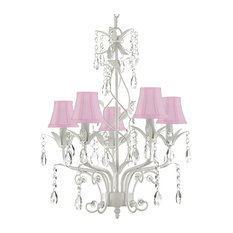 """Wrought Iron and Crystal 5-Light Chandelier Pendant, White, 20.5""""x14"""""""