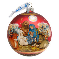 g debrekht hand painted scenic glass ornament story of nativity ball limited edition