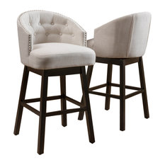 GDF Studio Westman Fabric Upholstered Swivel Seat Bar Stools, Set of 2