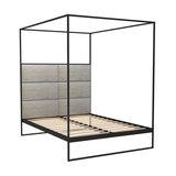 Federico Double Canopy Bed, Weathered Oak, Black Base