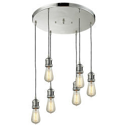 Shop houzz old fashioned edison lighting inspiration industrial chandeliers bare bulb 6 light pan chandelier aloadofball Image collections