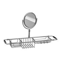 Bathtub Caddy Tray Bath Storage Extending Sides Tub Tray and Makeup Mirror 3x, P