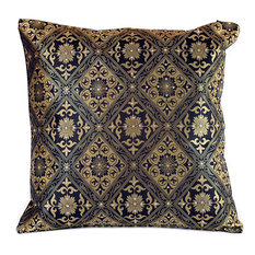 "Hand Embroidered Brocade Pillow Cover, Set of 2, Black and Gold, 16""x16"""