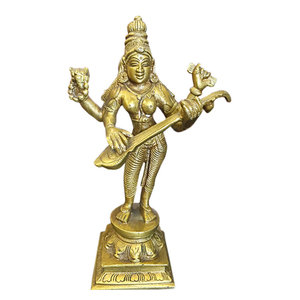 Mogul Interior - Indian Statues Goddess Saraswati Playing Veena Brass Statue India Music - Decorative Objects And Figurines