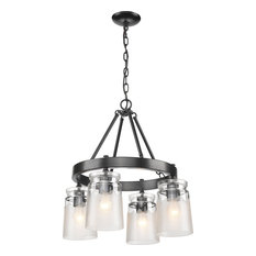 Golden Travers 4-LT Chandelier 1405-4 BLK-CAG - Black