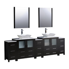 "96"" Espresso Double Sink Bathroom Vanity, 3 Side Cabinets and Vessel Sinks"