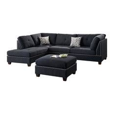 Infini - Modern Contemporary Sectional Sofa and Ottoman Set, Black - Sectional Sofas