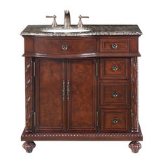 "36"" Traditional Single Sink Bathroom Vanity, (Left Sink) Distressed Finish"