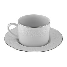 Vine Silver Line Can Cup and Saucer, Set of 6