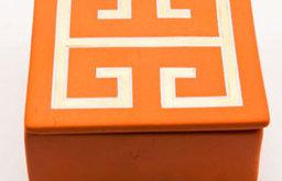 Greek Key Orange Trinket Box