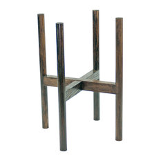 Large Wood Plant Stand With Round Legs 10'' Dark Walnut Color (Ash) Made in USA