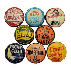 Vintage Soda Cap Cabinet Knobs, 8-Piece Set, Set F