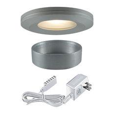 3-Light Halogen Beveled Edge Slim Disk, Brushed Aluminum
