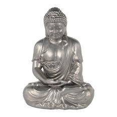Contemporary Ceramic Statue With Silver Finish 20245, 12  x9  x18