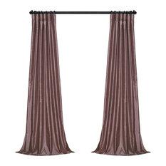 "Smokey Plum Vintage Textured Faux Dupioni Silk Curtain Single Panel, 50""x84"""