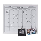 DesignOvation Walcott Framed Dry Erase Monthly Calendar, White