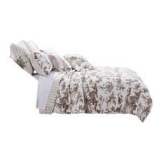 Greenland Home Classic Toile Quilt Set Black, Twin