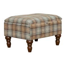 Shetland Fabric Footstool, Dove Grey