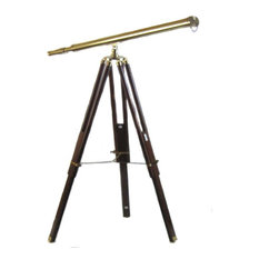 Urban Designs Antique Replica Brass Telescope With Wood Tripod Floor Stand
