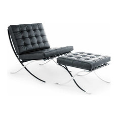 Barcelona Style Lounge Chair and Ottoman - Top Grain Italian Black Leather