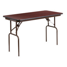 "Flash Furniture 48"" x 24"" Melamine Top Folding Table in Mahogany"
