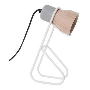 White Thinkk Desk Lamp, Beechwood Lampshade