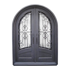 "Iron Envy Wrought Iron Doors - Estrella 72""x96"" Wrought Iron Door, 8"" Jamb, Aged Bronze Patina, Right Hand - Front Doors"