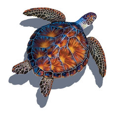 """Sea Turtle Porcelain Swimming Pool Mosaic 20""""x20"""" with shadow, Brown"""