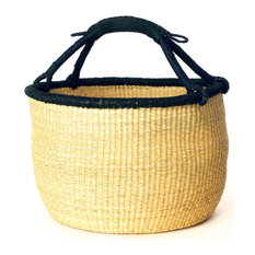 Oversize Bolga Basket with Leather Handle, Natural and Black
