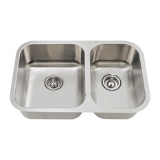 MR Direct Sinks and Faucets - 530L Small Offset Double Bowl Stainless Steel  Kitchen Sink -
